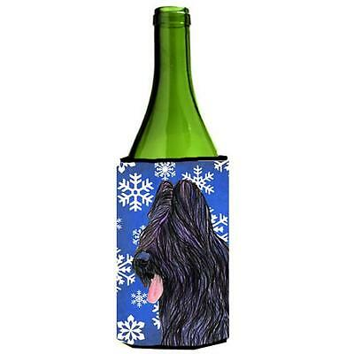 Briard Winter Snowflakes Holiday Wine bottle sleeve Hugger 24 oz.