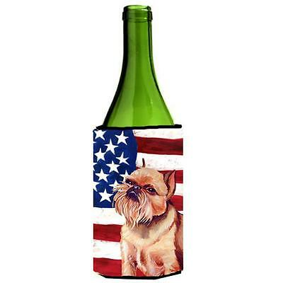 USA American Flag with Brussels Griffon Wine bottle sleeve Hugger 24 oz.