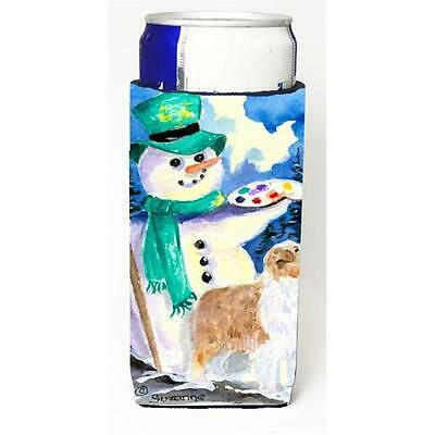 Snowman With Australian Shepherd Michelob Ultra bottle sleeve for Slim Can