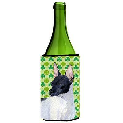 Rat Terrier St. Patricks Day Shamrock Portrait Wine bottle sleeve Hugger 24 oz.