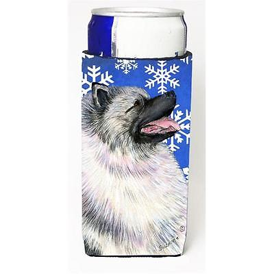 Keeshond Winter Snowflakes Holiday Michelob Ultra bottle sleeves for slim can...