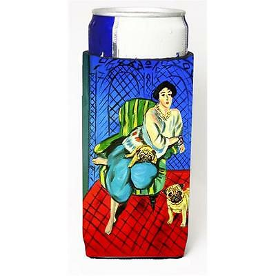 Lady with her Fawn Pug Michelob Ultra bottle sleeves for slim cans 12 oz.