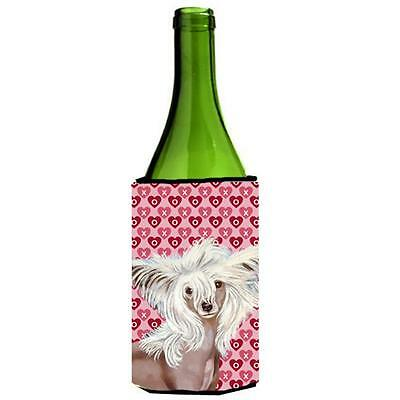 Chinese Crested Hearts Love Valentines Day Portrait Wine bottle sleeve Hugger