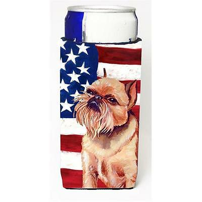 USA American Flag With Brussels Griffon Michelob Ultra bottle sleeves For Sli...