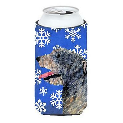 Irish Wolfhound Winter Snowflakes Holiday Tall Boy bottle sleeve Hugger 22 to...