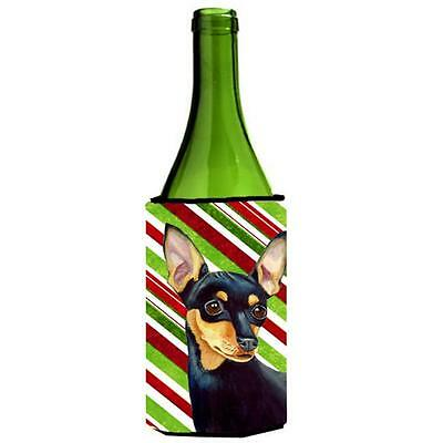 Min Pin Candy Cane Holiday Christmas Wine bottle sleeve Hugger 24 oz.