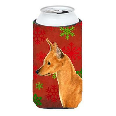 Min Pin Red And Green Snowflakes Holiday Christmas Tall Boy bottle sleeve Hug...