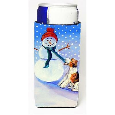 Snowman With Fox Terrier Michelob Ultra bottle sleeves For Slim Cans 12 oz.