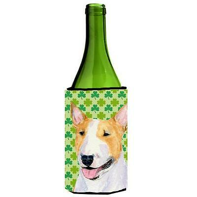 Bull Terrier St. Patricks Day Shamrock Portrait Wine bottle sleeve Hugger 24 oz.
