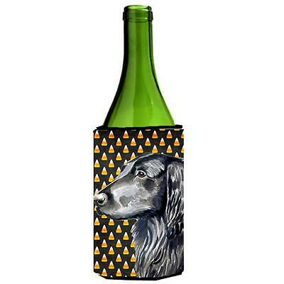 Flat Coated Retriever Candy Corn Halloween Portrait Wine bottle sleeve Hugger...