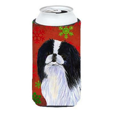 Japanese Chin Snowflakes Holiday Christmas Tall Boy bottle sleeve Hugger 22 T...