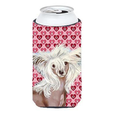 Chinese Crested Hearts Love Valentines Day Portrait Tall Boy bottle sleeve Hu...