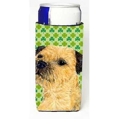 Border Terrier St. Patricks Day Shamrock Portrait Michelob Ultra bottle sleev...