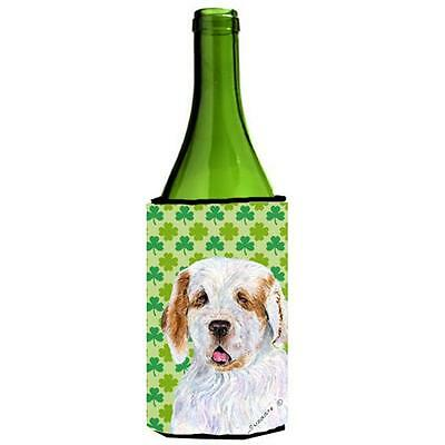 Clumber Spaniel St. Patricks Day Shamrock Portrait Wine bottle sleeve Hugger ...