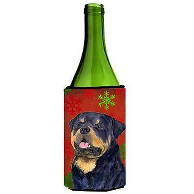 Rottweiler Red And Green Snowflakes Holiday Christmas Wine bottle sleeve Hugg...