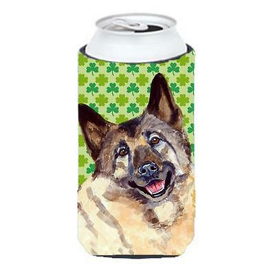 Norwegian Elkhound St. Patricks Day Shamrock Portrait Tall Boy bottle sleeve ...