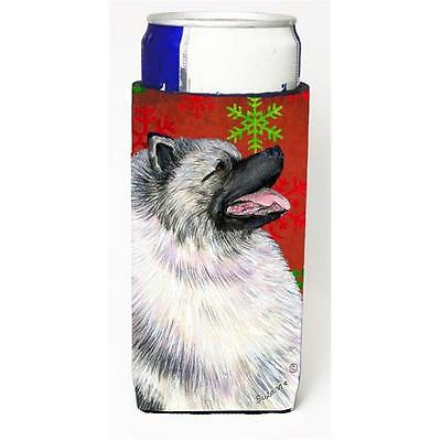 Keeshond Red And Green Snowflakes Holiday Christmas Michelob Ultra bottle sle...