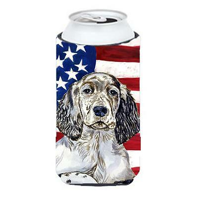 USA American Flag with English Setter Tall Boy bottle sleeve Hugger 22 to 24 oz.