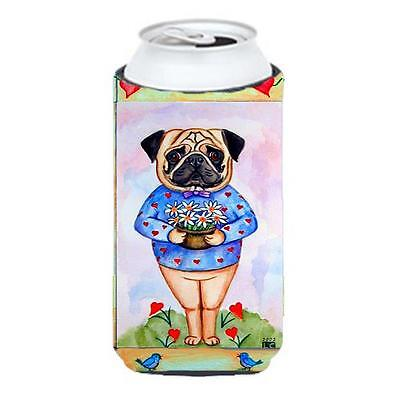 Pug Valentines Hearts Tall Boy bottle sleeve Hugger 22 To 24 oz.