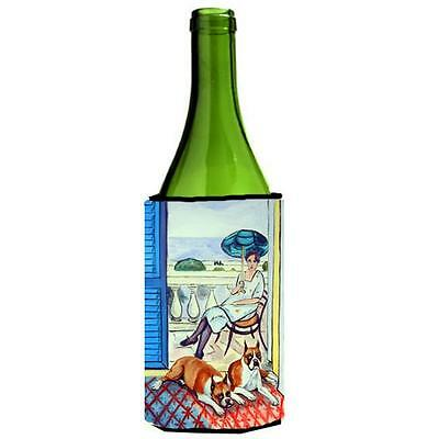 Carolines Treasures Lady with her Boxer Wine bottle sleeve Hugger 24 oz.
