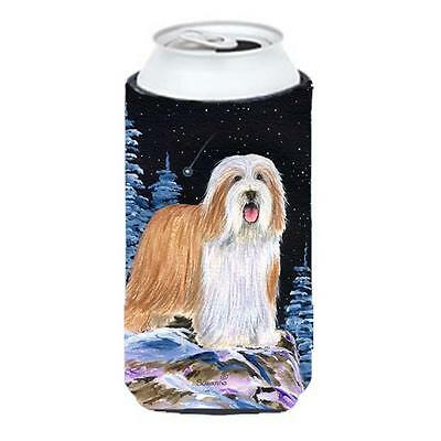 Starry Night Bearded Collie Tall Boy bottle sleeve Hugger 22 to 24 oz.
