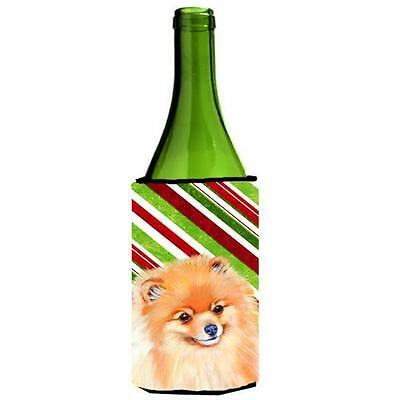 Pomeranian Candy Cane Holiday Christmas Wine bottle sleeve Hugger 24 oz.