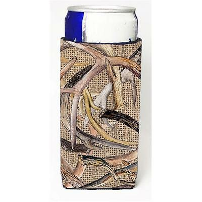 Deer Horns On Faux Burlap Michelob Ultra bottle sleeves For Slim Cans 12 oz.