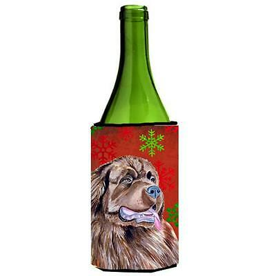 Newfoundland Red And Green Holiday Christmas Wine bottle sleeve Hugger 24 oz.
