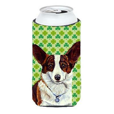 Corgi St. Patricks Day Shamrock Portrait Tall Boy bottle sleeve Hugger 22 to ...