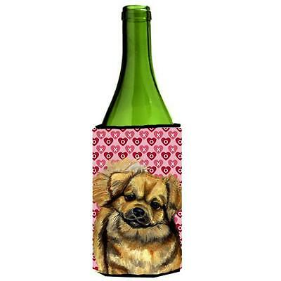 Tibetan Spaniel Hearts Love Valentines Day Wine bottle sleeve Hugger