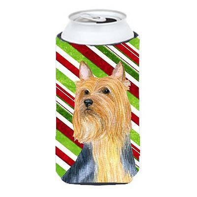 Silky Terrier Candy Cane Holiday Christmas Tall Boy bottle sleeve Hugger 22 T...