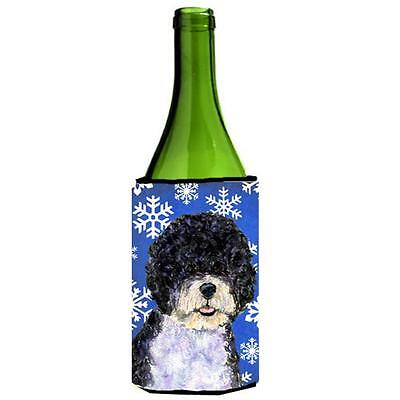 Portuguese Water Dog Winter Snowflakes Holiday Wine bottle sleeve Hugger 24 oz.