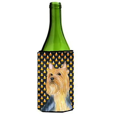Silky Terrier Candy Corn Halloween Portrait Wine bottle sleeve Hugger 24 oz.