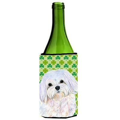Maltese St. Patricks Day Shamrock Wine bottle sleeve Hugger 24 oz.