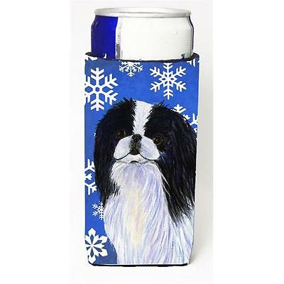 Japanese Chin Winter Snowflakes Holiday Michelob Ultra bottle sleeve for Slim...
