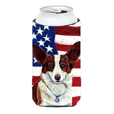 USA American Flag with Corgi Tall Boy bottle sleeve Hugger 22 to 24 oz.