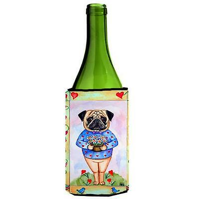 Carolines Treasures Pug Valentines Hearts Wine bottle sleeve Hugger 24 oz.