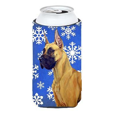 Great Dane Winter Snowflakes Holiday Tall Boy bottle sleeve Hugger 22 To 24 oz.