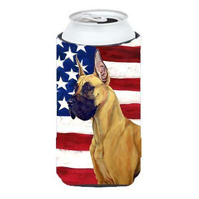 USA American Flag With Great Dane Tall Boy bottle sleeve Hugger 22 To 24 oz.
