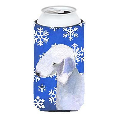 Bedlington Terrier Winter Snowflakes Holiday Tall Boy bottle sleeve Hugger