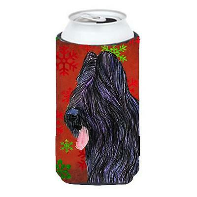 Briard Red And Green Snowflakes Holiday Christmas Tall Boy bottle sleeve Hugg...