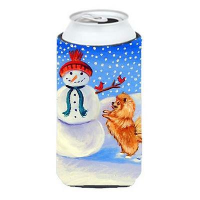 Snowman With Pomeranian Winter Snowman Tall Boy bottle sleeve Hugger 22 To 24...