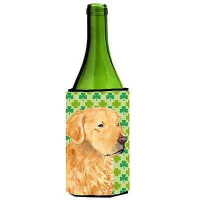 Golden Retriever St. Patricks Day Shamrock Portrait Wine bottle sleeve Hugger...