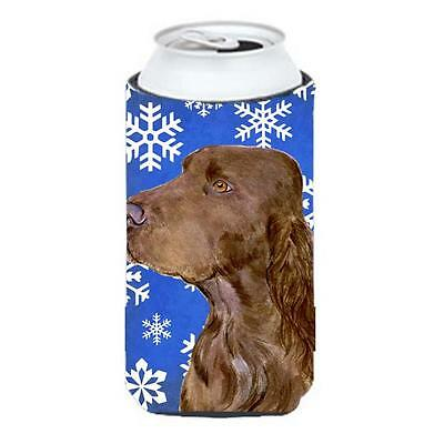 Field Spaniel Winter Snowflakes Holiday Tall Boy bottle sleeve Hugger 22 To 2...