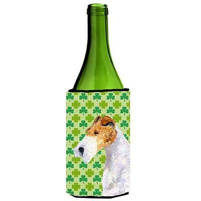 Fox Terrier St. Patricks Day Shamrock Portrait Wine bottle sleeve Hugger 24 oz.