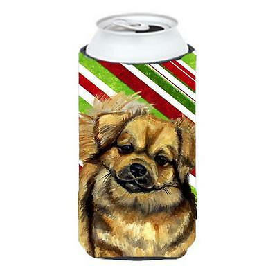 Tibetan Spaniel Candy Cane Holiday Christmas Tall Boy bottle sleeve Hugger 22...
