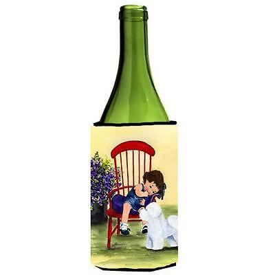 Little Girl With Her Bichon Frise Wine bottle sleeve Hugger 24 oz.