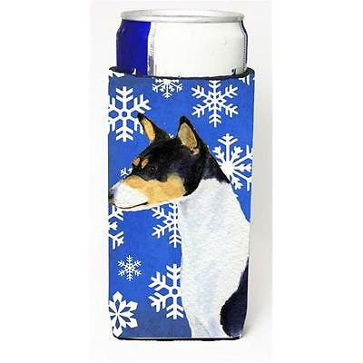 Basenji Winter Snowflakes Holiday Michelob Ultra bottle sleeves For Slim Cans...