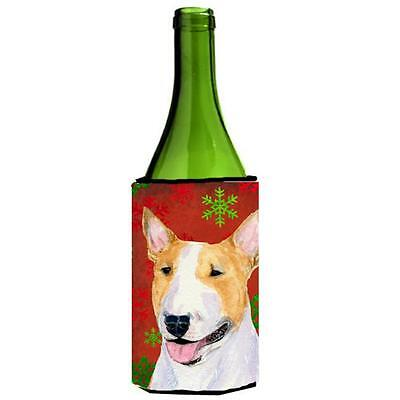 Bull Terrier Red And Green Snowflakes Holiday Christmas Wine bottle sleeve 24...