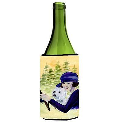 Woman Driving With Her Westie Wine bottle sleeve Hugger 24 oz.